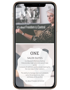 image of One Salon Suites website in phone
