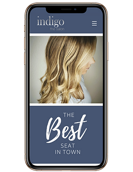 image of Indigo the salon website in phone