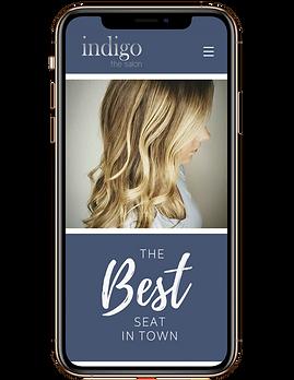 image of Indigo the salon website in phone