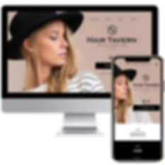 website in computer + phone displaying website for Hair Tavern