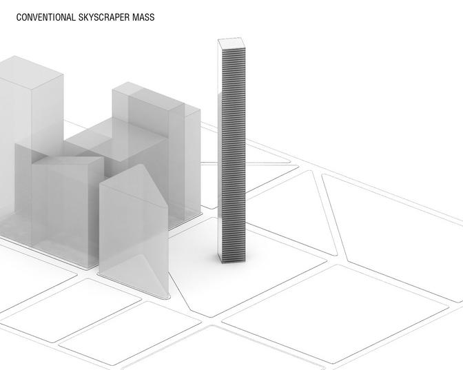 Conventional skyscraper mass