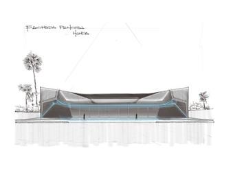 Concept sketch, main facade