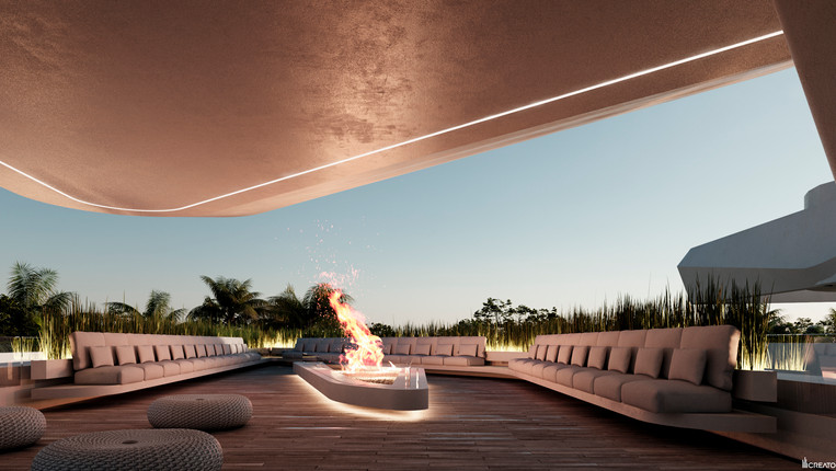Roof top fire pit