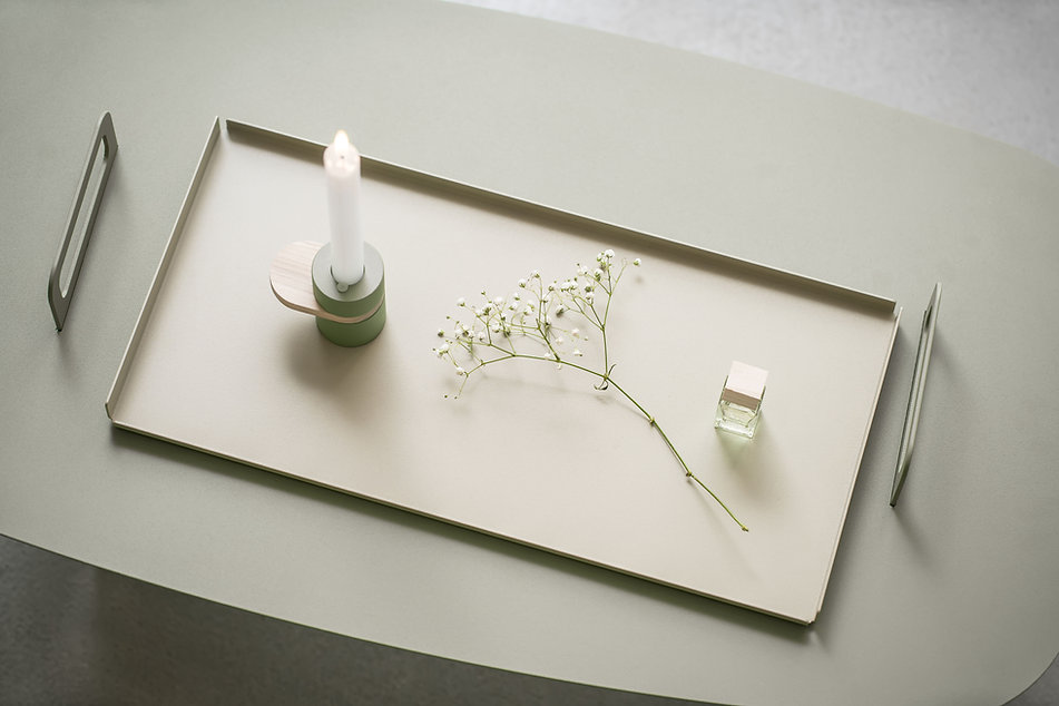 Candlestick on Metal Tray