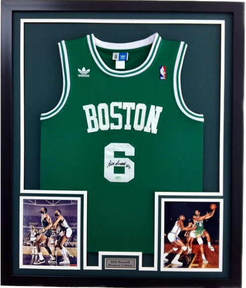 Bill Russell Autographed Framed Jersey