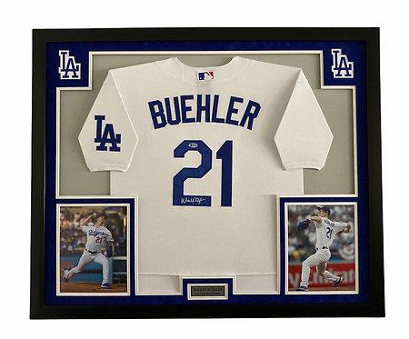 Walker Buehler Autographed Framed Los Angeles Dodgers Jersey