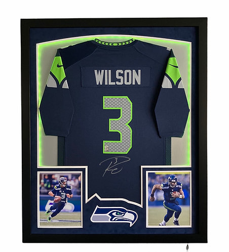 Russell Wilson LED Autographed Framed Jersey