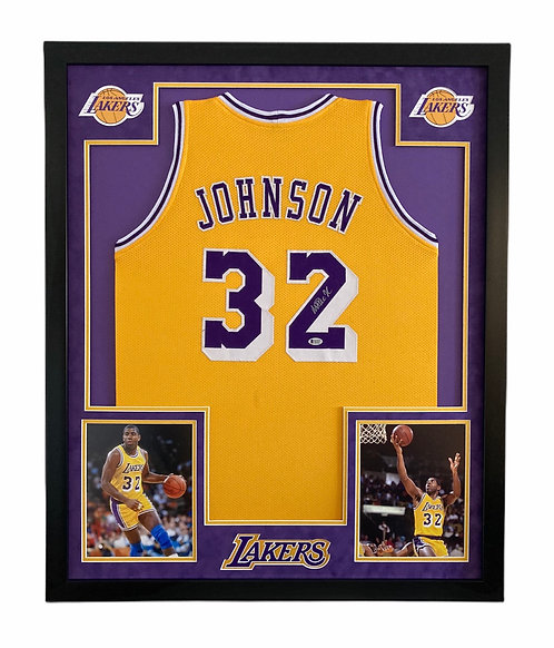 Magic Johnson Autographed Framed Los Angeles Lakers Jersey