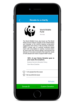 Image of Smartphone showing charitable contribution screen, Venmo logo is off to the right.