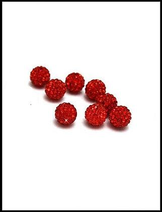 Shambala Χάνδρα Με Κρύσταλλα Κόκκινο 10mm
