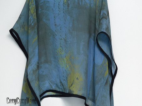 Silk  tunic/kaftan, light as air  with  letters  and numbers printed  in grunge style.