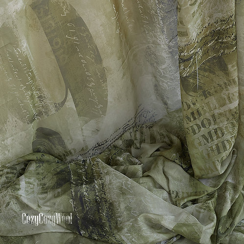 Silk chiffon fabric with text.