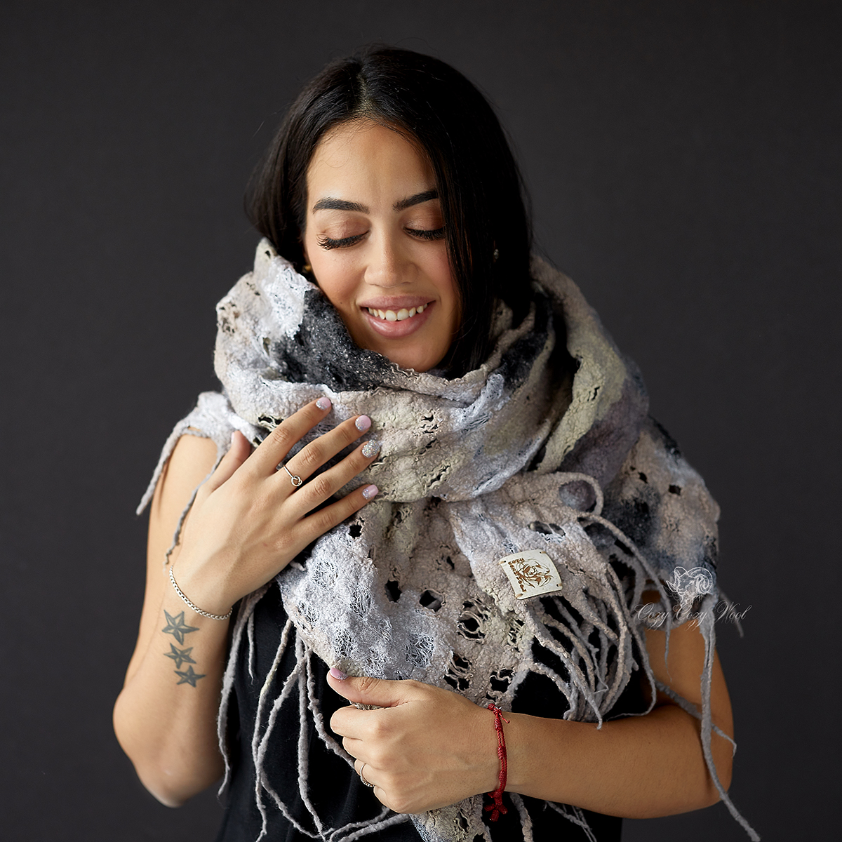 chunky merino and silk  scarf