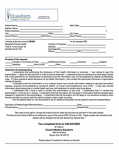 Bluestem Family Health Medical Records Request Form