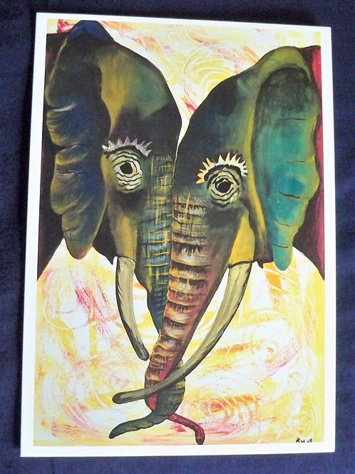 Elephants with tusks entwined