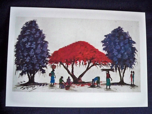 Three trees with ladies working