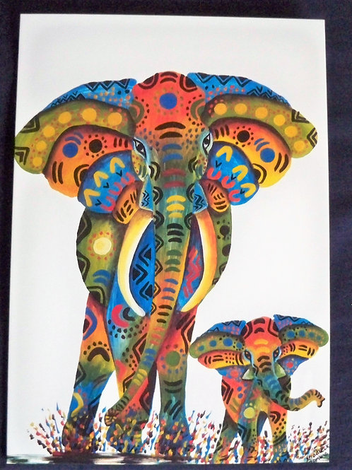 Multi colour elephant and baby