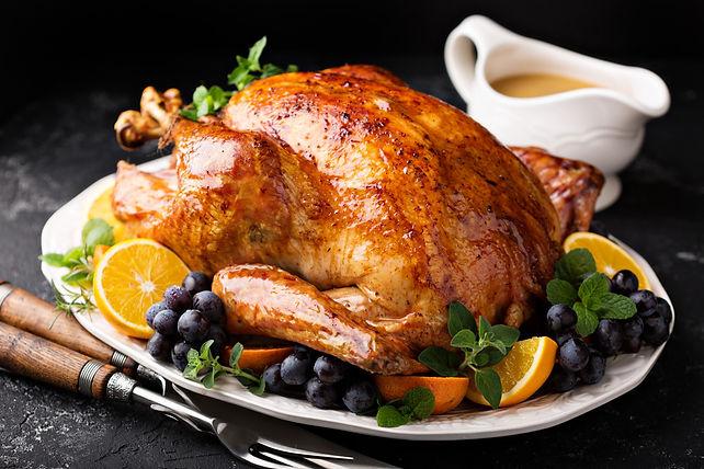 Festive celebration roasted turkey with
