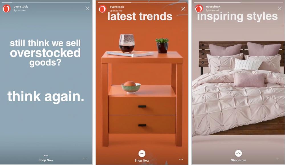 Overstock Instagram Sponsored Stories Example
