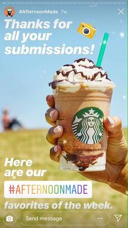 Starbuck Customer Favourite on Instagram Stories