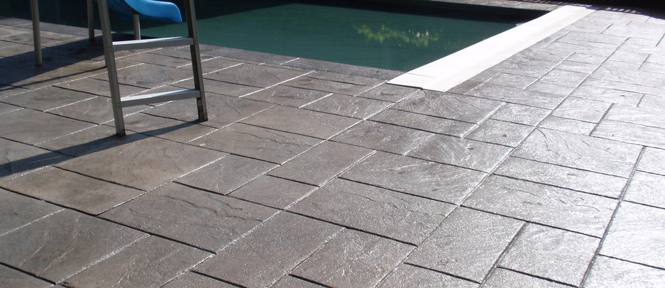 Stamped Concrete Pool Patio, Dedham, Ma
