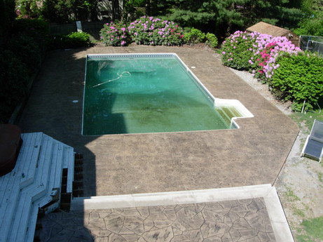 Stamped Concrete Sealing Pool Deck, Franklin, M