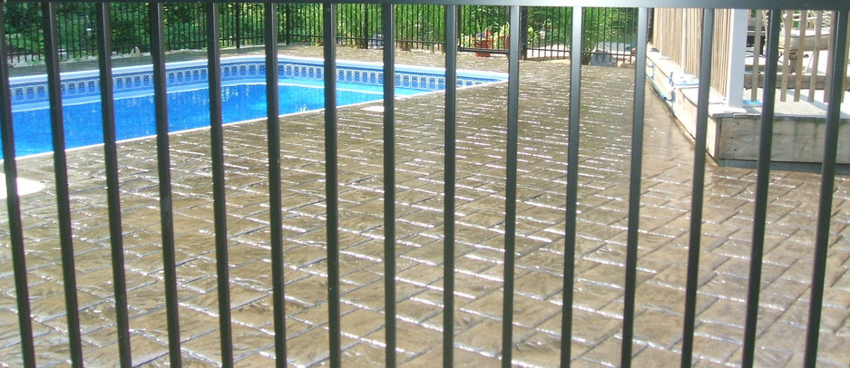 Stamped Concrete Pool Patio, Westwood, Ma