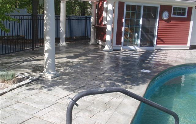 Stamped Concrete Pool Patio Sealing Wrentham, Ma