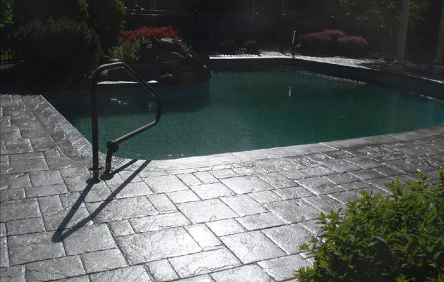 Stamped Concrete Pool Patio, Norwood, Ma