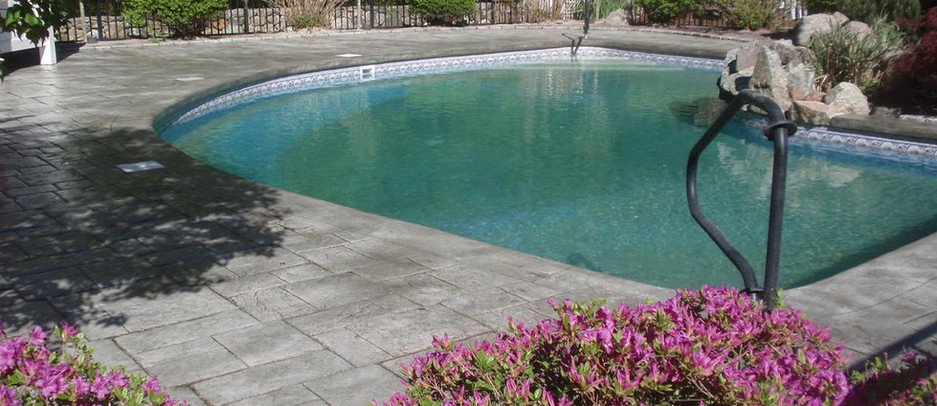 Stamped Concrete Pool Patio, Franklin, Ma