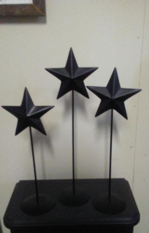 Black Primitive Star Pedestals- Set of 3