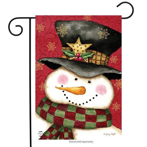 Holly Jolly Snowman Garden Flag