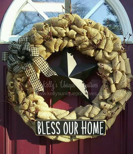 Bless Our Home Burlap Wreath