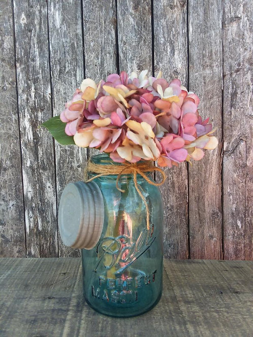 Blue Ball Mason Jar & Hydrangea Arrangement