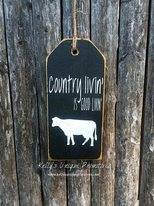 Country Livin' Tag- Black