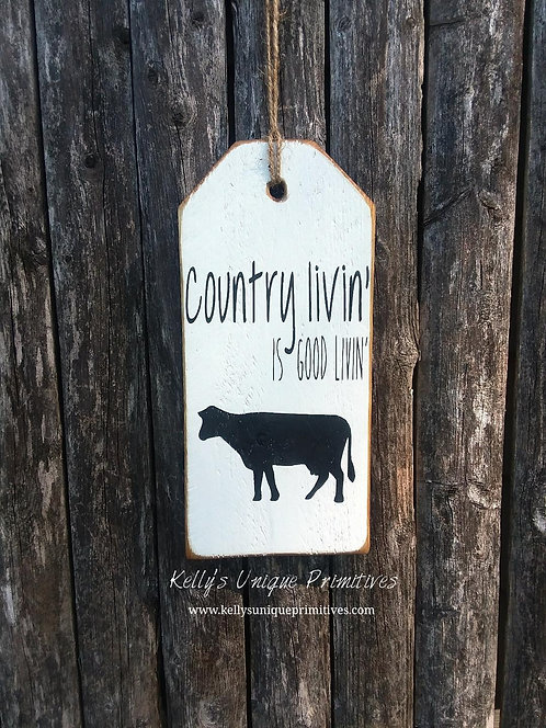 Country Livin' Tag- White