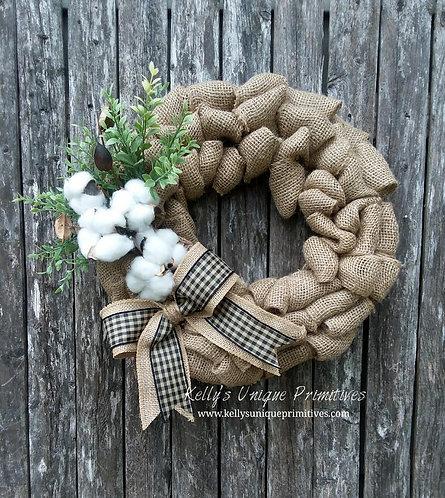 Cotton & Greenery Burlap Wreath