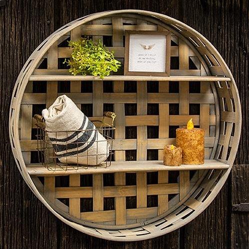 Round Basket Weave Wall Shelf