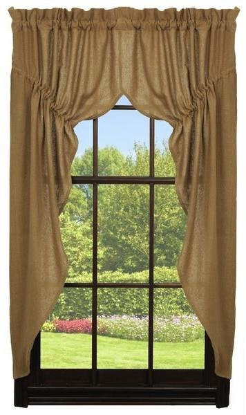 Deluxe Burlap Natural Tan Prairie Curtain Set
