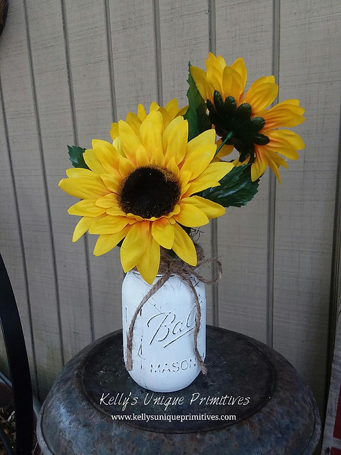 Sunflower Mason Jar Arrangement