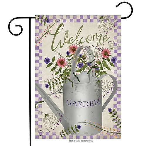 Watering Can Welcome Garden Flag