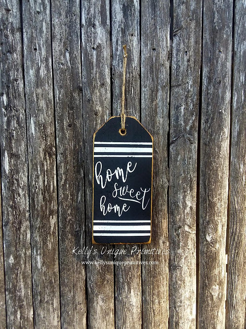 Home Sweet Home Tag- Black