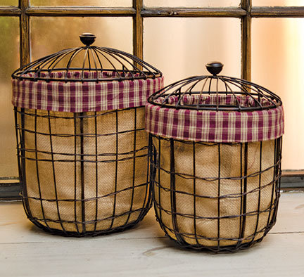 Burlap Wire Baskets- S/2
