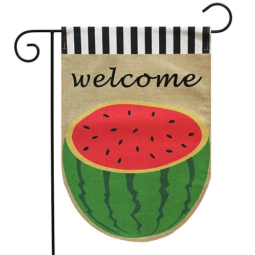 Watermelon Burlap Garden Flag