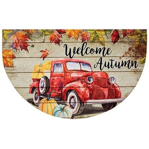 Red Truck Autumn Welcome Mat