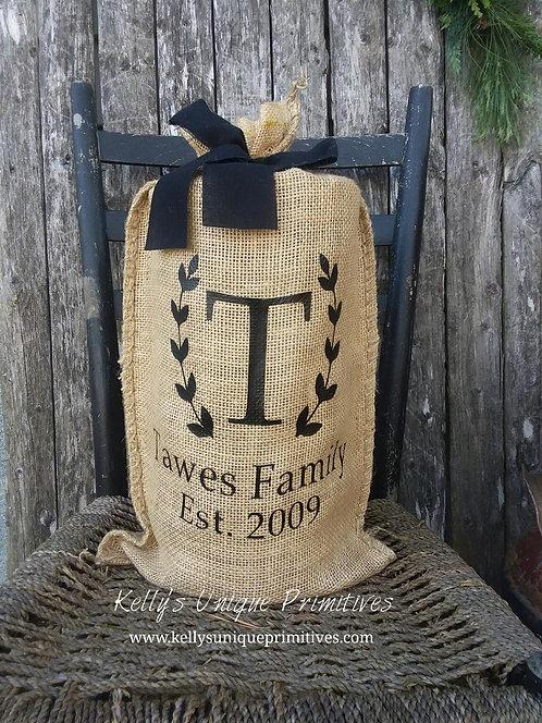 Personalized Burlap Bag