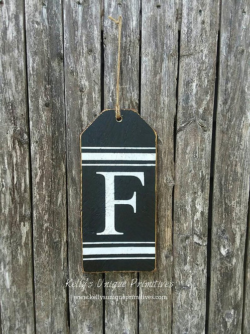 Personalized Last Name Initial Wooden Tag