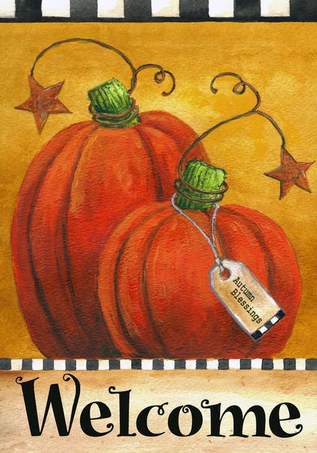 Pumpkin Autumn Welcome Garden Flag