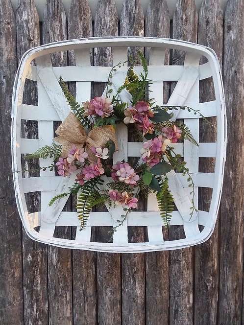 Tobacco Basket & Hydrangea Wreath Arrangement