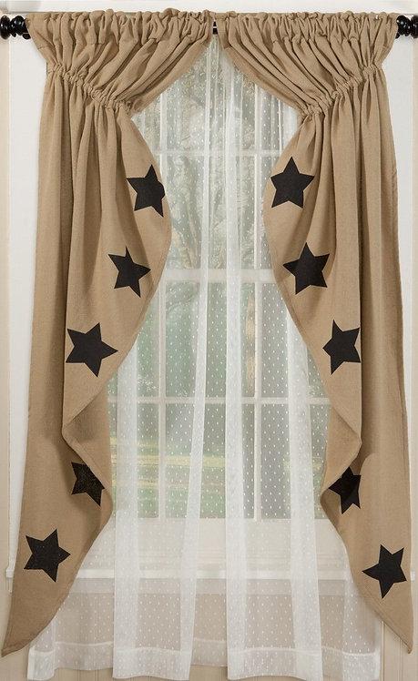 Deluxe Burlap Natural Tan w/ Blk. Stars Prairie Curtain